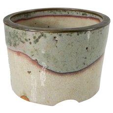 Japanese Art Pottery Brush Holder Vase