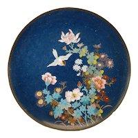 Antique Japanese Cloisonne Enamel Charger Plate Art Deco Bird