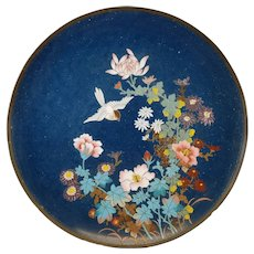 Antique Japanese Cloisonne Enamel Charger Plate Art Deco Bird