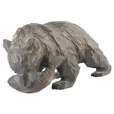 Black Forest Carved Wooden Bear with Salmon