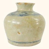 Chinese Miniature Crackled Blue and White Brushwasher Vase