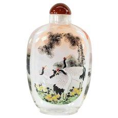 Vintage Inside Reverse Painted Oversize Asian Snuff Bottle