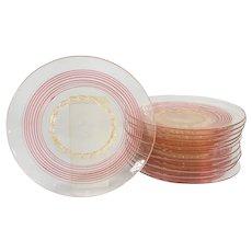 Set of 12 Italian Murano Venetian Glass Plates