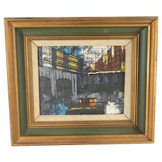 European French Cityscape Oil on Canvas Painting signed Allard