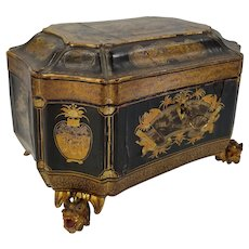 Antique Chinese Finely Gilt Lacquered Tea Caddy