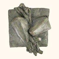 Mid Century Modern Cast Stone Sculpture Signed