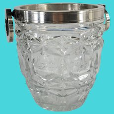 Art Deco Silverplate and Crystal French Ice Bucket