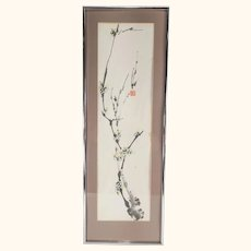 Chinese Watercolor Ink Painting of a Prunus Branch