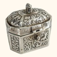 Indian Export Silver Betel Nut Box or Tea Caddy