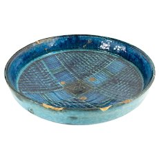 Early Persian Kashan Stoneware Blue and Turquoise Bowl