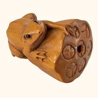 Japanese Carved Boxwood Ojime Netsuke Bead with Frog and Lotus