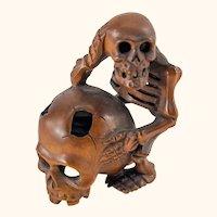 Japanese Carved Boxwood Skeleton and Skull Memento Mori Okimono Netsuke