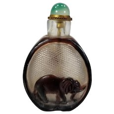 Vintage 20th Century Carved Peking Glass Chinese Snuff Bottle