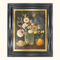 18th or 19th Century Floral Still Life Oil on Canvas Painting