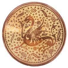 Spanish Hispano-Moresque Luster Ware Charger with Dragon