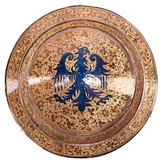 Large Hispano Moresque Charger Basin with Eagle Decoration
