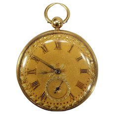 Fine Antique 18k Gold Pocket Watch Swiss Freres Melly