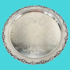 English Silverplate Decorative EPNS Silverplate Tray with Grapes