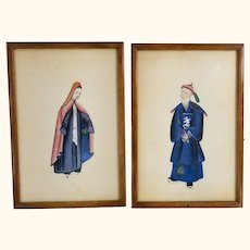 Pair of Unusual Chinese Watercolor Rice Pith Paper Paintings