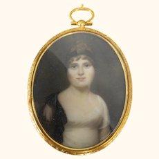 Fine American Watercolor Miniature Portrait Painting