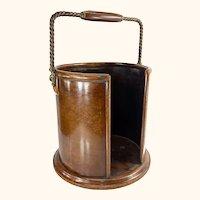 English Mahogany Wood Butler's Tray Converted Waste Bin