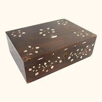Charming Folk Art Americana Rosewood Writing Box