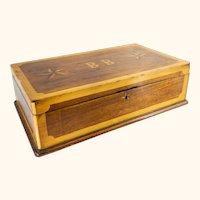 Folk Art Americana Marquetry Inlaid Box