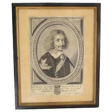 French Copper Plate Engraving Print of Peter De Jode