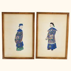 Pair of Chines Export Watercolor Pith Paper Paintings