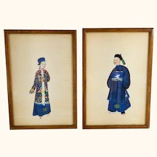 Chinese Export Imperial Portrait Watercolor Pith Paper Paintings