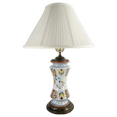 Vintage Faience Majolica Pottery Table Lamp