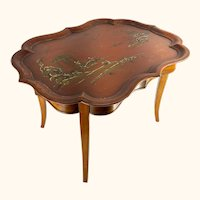 Chinoiserie Red Lacquered Tea Table