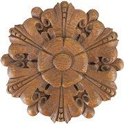 Carved Oak Roundel Decorative Architectural Panel
