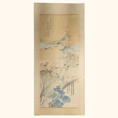 Chinese Watercolor Scroll Painting of Fisherman Republic Period