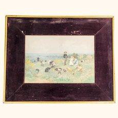 Watercolor and Gouache Facsimile Print after Luigi Chialiva