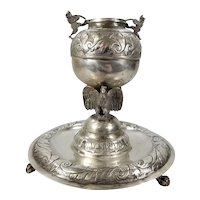 Antique Spanish Colonial Silver Yerba Mate Cup with Eagles