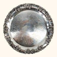 Vintage English Sheffield Silverplate Salver Tray