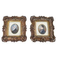 Early Fine Pair Americana Miniature Paintings