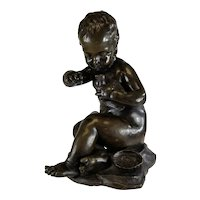 Antique 19th Century French Bronze of A Boy After Jean-Baptiste Pigalle