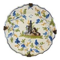 Antique Polychrome Majolica Faience Pottery Plate Castle