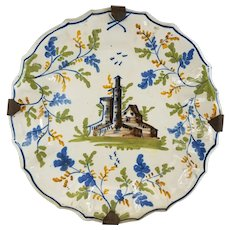 Antique Polychrome Majolica Faience Pottery Plate Castle