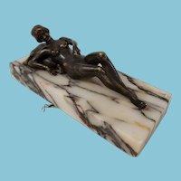 Antique Karl Kauba Signed Erotic Bronze Servant Bell With Mechanical Arm