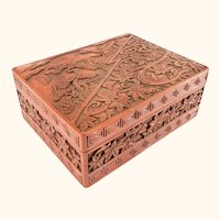 Antique Japanese or Chinese Carved Cinnabar Lacquer Box