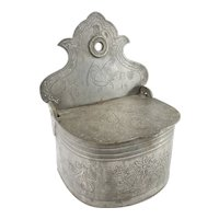 Antique Americana Primitive Pewter Wall Salt Box