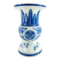 Antique Large Chinese Export Blue and White Canton Zun Vase