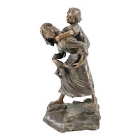 Rare Antique French Bronze Mother and Child by Pierre-Leon Dusouchet