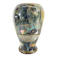 Antique Chinese or Japanese Flambe Glazed and Enameled Vase