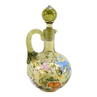 Antique Bohemian or Bavarian Moser Style Enameled Decanter Pitcher