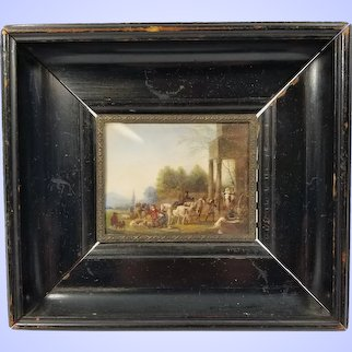 Antique European Fine Miniature Watercolor Landscape Battle Scene