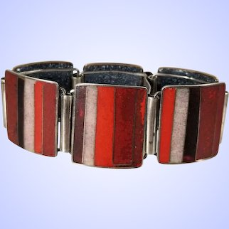 Vintage .800 Silver Perli Enamel Mid Century Modernist Bracelet